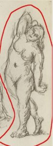 Fig. 43. 1877-78 Page d'études - baigneur et fils de l'artiste C0364d