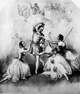 """Fig. 68. 1846 Ballet à Londres du """"Jugement de Pâris"""" avec Fanny Cerrito, Arthur Saint-Leon, Marie Taglioni et Lucille Grahn"""