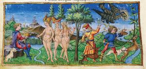 Fig. 8. 1450-60 Apollonio di Giovanni, miniatures pour les Bucoliche, les Georgiche et l'Énéide de Virgile (Biblioteca Riccardiana,Florence)