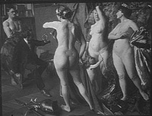 Fig. 87. 1912 Maurice Joron, Le Jugement de Paris à l'atelier (exposé au Salon des Artistes Français de 1912) agence photo RMN, fonds Druet-Vizzavona