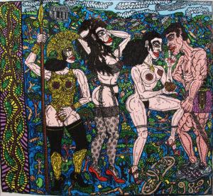 Fig. 99. 1988 Combas Jugement de Pâris - Acrylique sur toile - 197,5 x 211 cm