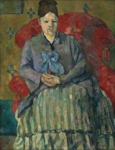 R324 Madame Cézanne à la jupe rayée FWN443-R324 Oil on canvas ca 1877 72.5 x 56 cm