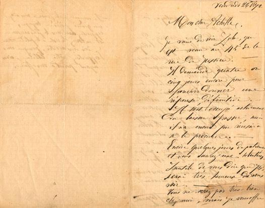Lettre de Cézanne à Emperaire, janvier 1872 (document conservé à l'Atelier des Lauves, don de Pierre Chiappetta).