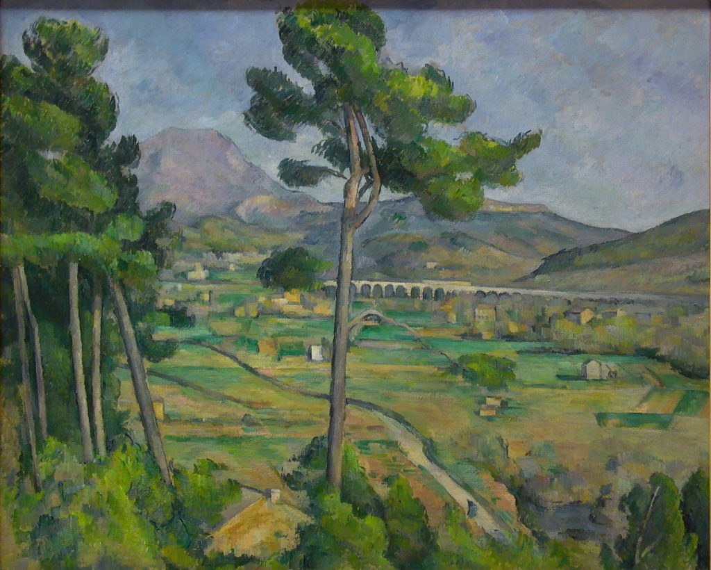 La Montagne Sainte-Victoire vue de Montbriand 1882-1885, huile sur toile ; 65,5 x 81,7 cm, New York, The Metropolitan museum of Art H. O. Havemeyer 1929 (cat. Rewald R511 ; cat. FWN 185)