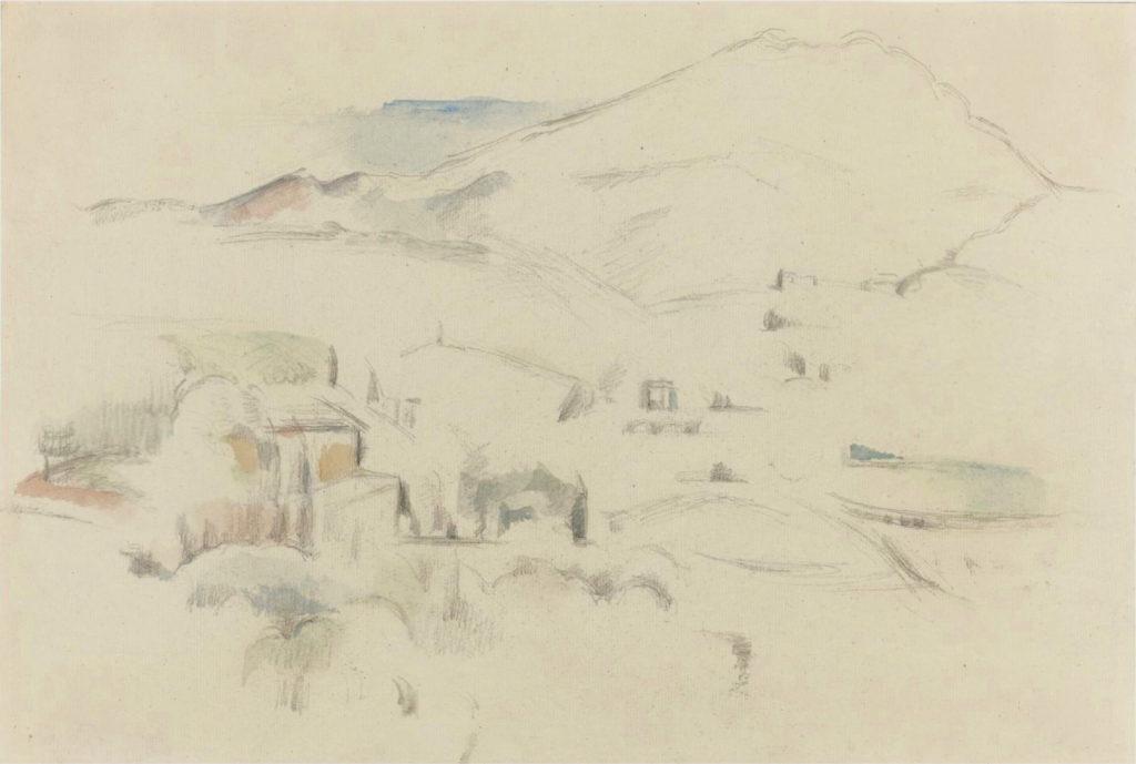 Sainte-Victoire et Bastide Vieille 1885, mine de plomb et aquarelle, 29,7 x 43,2 cm RW238, localisation inconnue