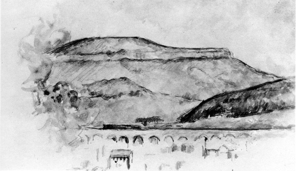 Le Viaduc de la Vallée de l'Arc 1883-85 ; 12,5 x 21 cm ; Mine de plomb et aquarelle sur un feuillet blanc probablement tiré d'un carnet. Zurich, coll. Particulière (RW240)