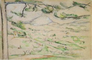 La Vallée de l'Arc 1885 ; 34,7 x 53,1 cm ; Mine de plomb et aquarelle sur papier blanc Chicago, Art Institute ( RW241) Cette aquarelle est à rapprocher du tableau R598 qu'elle semble précéder comme une étude préparatoire