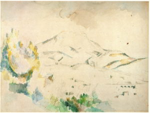 La Montagne Sainte-Victoire avec viaduc 1885-87 ; 36, 5 x 48,5 cm ; Mine de plomb et aquarelle sur papier blanc RW242