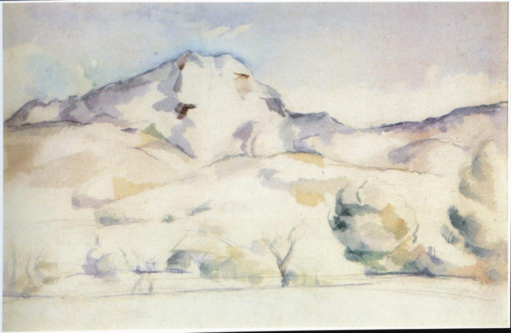 La Montagne Sainte-Victoire 1885-1887. Crayon, gouache et aquarelle sur papier chamois, 31 x 47 cm Cambridge (Massachusetts, Harvard University Art Museum Fogg Art Museum, RW281