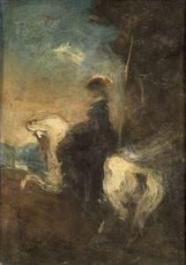 Achille Emperaire, L'Amazone, huile sur carton d'Achille Emperaire, 21 x 40 cm