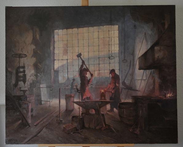 La forge de Cyrille Rougier, huile sur toile de Joseph Milon, collection du musée du Vieil Aix (photo Yannick Blaise, Direction des Musées et du Patrimoine. Ville d'Aix-en-Provence).