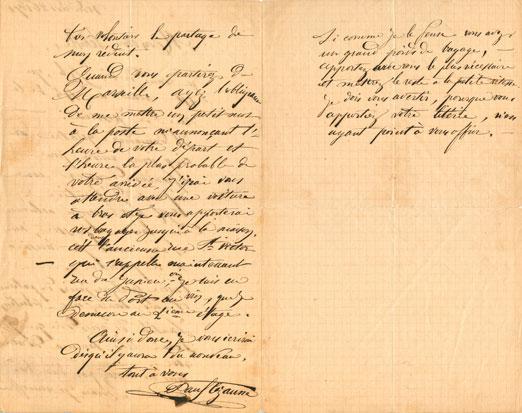 Verso de la lettre de Cézanne à Emperaire, janvier 1872 (document conservé à l'Atelier des Lauves, don de Pierre Chiappetta).