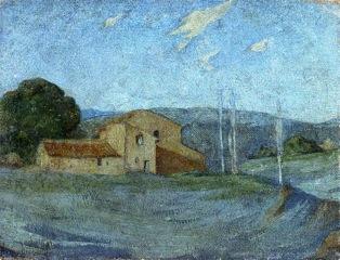 Achille Emperaire, Paysage de la campagne d'Aix, huile sur toile marouflée sur carton, 16 x 21 cm.