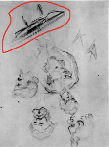 1859-60 Esquisses - homme debout et têtes C0040g