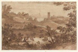 Un dessin d'inspiration proche : Gaspard DUGHET (Rome 1615-Rome 1675)-Paysage d'Italie
