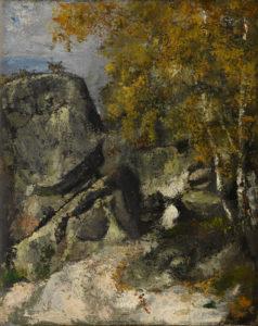 Rochers dans la forêt (Fontainebleau ?), vers 1865-1868 41 x 33 cm R126 FWN40