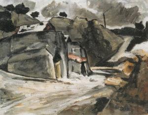 R133 Paysage provençal -- Rochers à l'Estaque -- Masures sous la neige, vers 1870 59 x 78 cm R133 FWN52