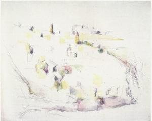 """""""Environs d'Aix"""" aquarelle et mine de plomb 48 x 59 cm Collection Jean Planque RW575"""
