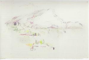 """La montagne Sainte-Victoire vue des Lauves"""" mine de plomb et aquarelle 29 x 46 cm Collection Jean Planque RW583"""