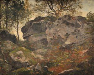 Ecole Française du XIXè siècle - Rochers en forêt de Fontainebleau