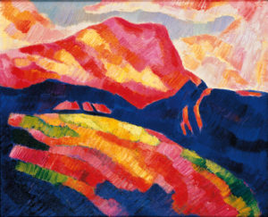 Marsden Hartley Mont Sainte-Victoire, 1927 [red mountain] Oil on canvas 20 x 24 inches.  Private Collection, courtesy of Gerald Peters Gallery. Photo courtesy of Gerald Peters Gallery, NY