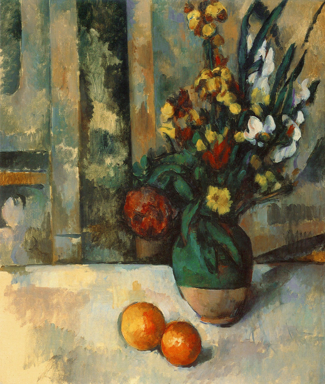 le vase de fleurs et pommes 1889 1890 r660 fwn828 soci t cezanne. Black Bedroom Furniture Sets. Home Design Ideas