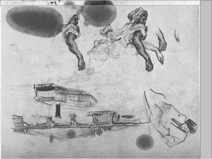 08R C0117 Page d'études avec un pont et un détail d'après Delacroix 64-67