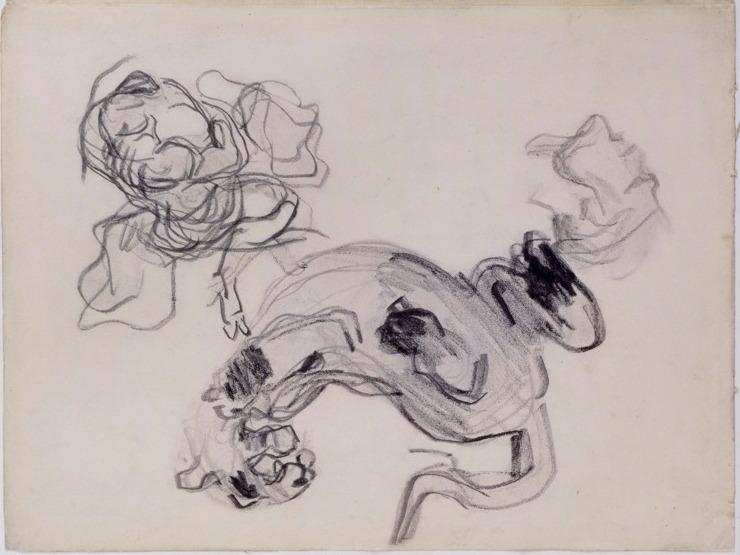 12V C0194bis Animal sauvage d'après Delacroix et personnage en mouvement 65-68