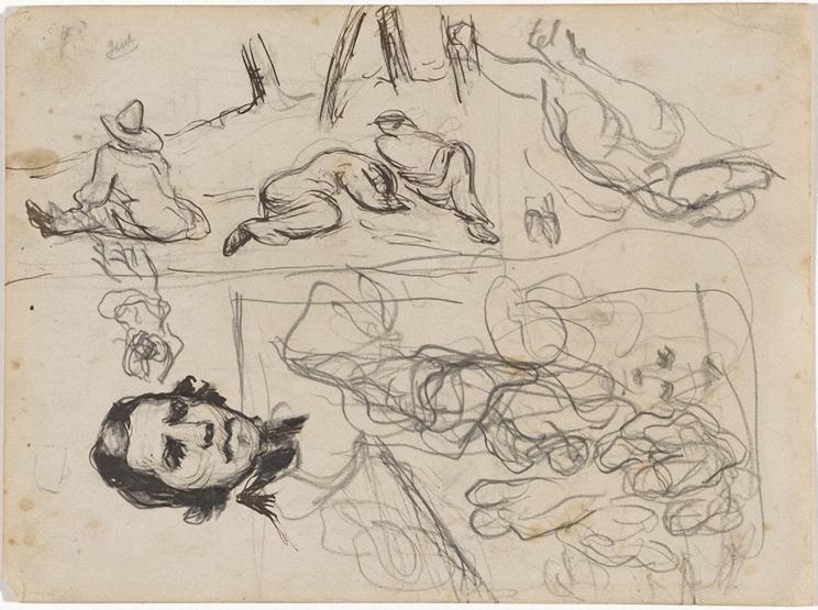 14V C0156 Portrait d'Eugène Delacroix et études diverses 64-68