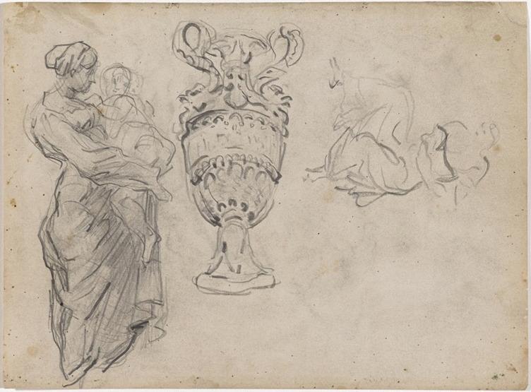 22R C0240 Mère et enfant, vase d'ornement, une femme 66-71