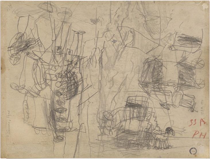 23V C0119 Étude de paysage recouvert de dessins d'enfant 67-70