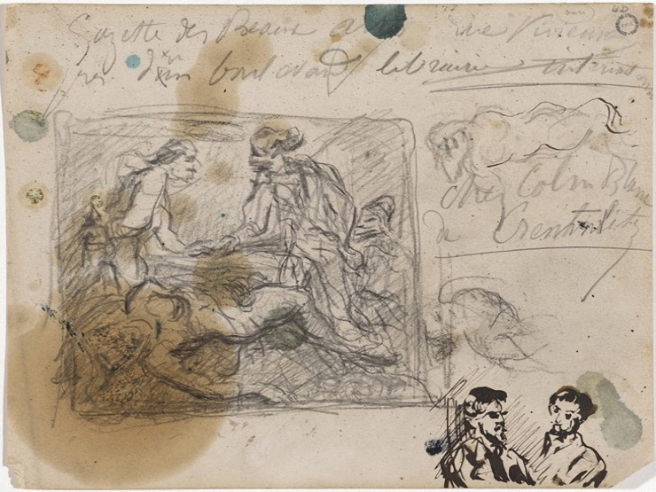 38V C0236 Deux hommes en discussion, femme nue allongée 68-72
