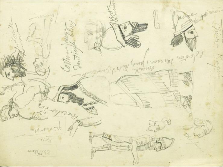 44R C0140 Études à partir de peintures assyriennes 64-68