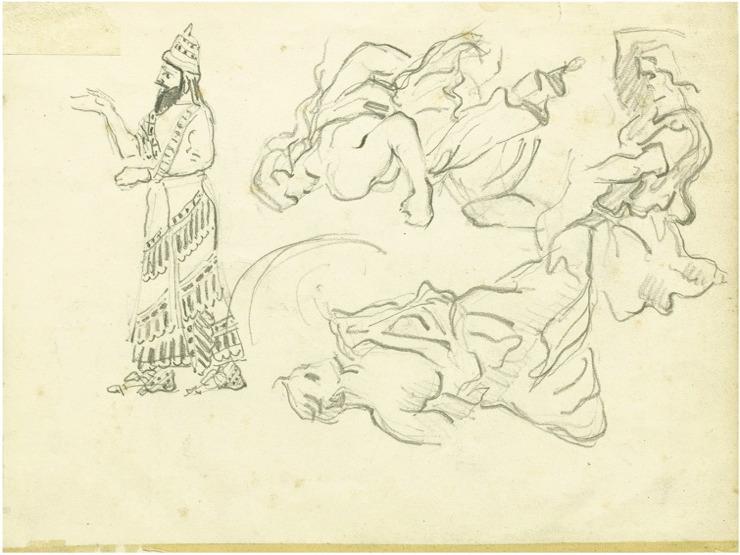 44V CS1864-68 Études à partir de peintures assyriennes 64-68